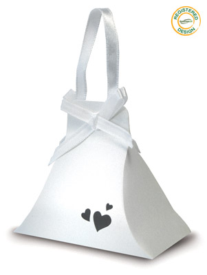 Hand Bag Heart Pearl White (pack 5pcs) - Gift Boxes / Bags
