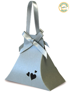 Hand Bag Heart Pearl Silver (pack 5pcs) - Gift Boxes / Bags
