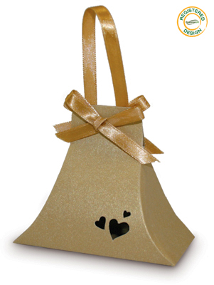 Hand Bag Heart Pearl Gold (pack 5pcs) - Gift Boxes / Bags