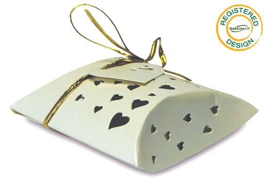 Pillow Box Heart Pearl Ivory (pack 5pcs) - Gift Boxes / Bags