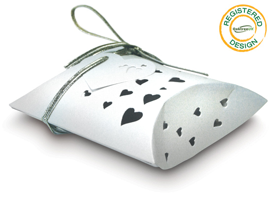 Pillow Box Heart Pearl White (pack 5pcs) - Gift Boxes / Bags