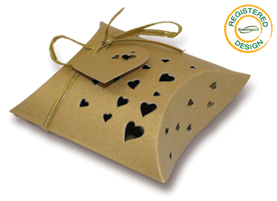 Pillow Box Heart Pearl Gold (pack 5pcs) - Gift Boxes / Bags