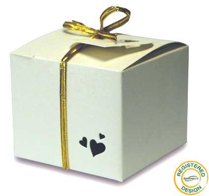 Gift Box Heart Pearl Ivory (pack 5pcs) - Gift Boxes / Bags
