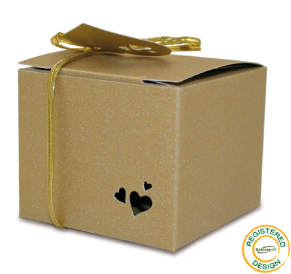 Gift Box Heart Pearl Gold (pack 5pcs) - Gift Boxes / Bags