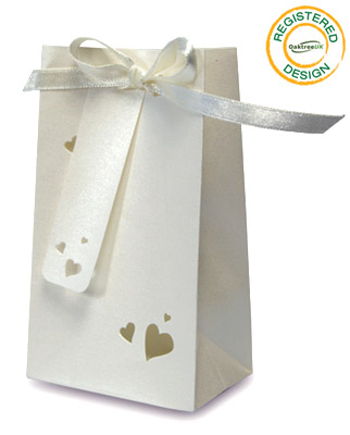 Gift/Favour Bag Heart Pearl Ivory (pack 5pcs) - Gift Boxes / Bags