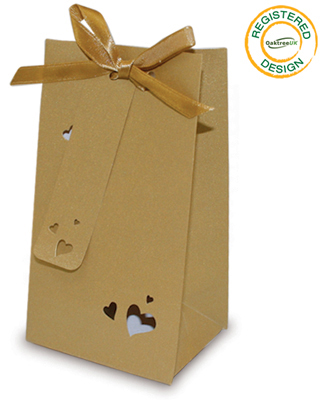 Gift/Favour Bag Heart Pearl Gold (pack 5pcs) - Gift Boxes / Bags