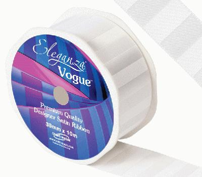 Eleganza Satin Vogue Ribbon 38mm x 10m White - Ribbons