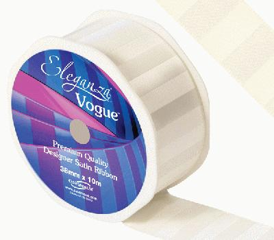 Eleganza Satin Vogue Ribbon 38mm x 10m Ivory - Ribbons