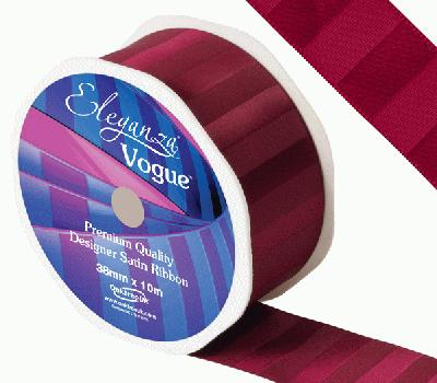 Eleganza Satin Vogue Ribbon 38mm x 10m Claret - Ribbons