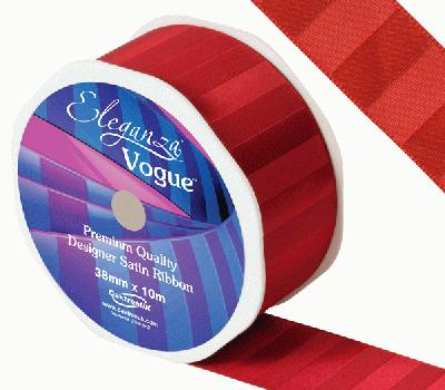 Eleganza Satin Vogue Ribbon 38mm x 10m Red - Ribbons