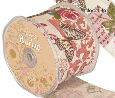 Eleganza Burlap Wired Edge Vintage Collage 70mm x 10m - Ribbons