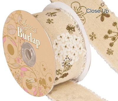 Eleganza Burlap Frayed Edge Illustrated Flower 50mm x 10m - Ribbons