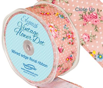 Eleganza Vintage Flower Dot Wire Edge 38mm x 10m Classic Pink No.07 - Ribbons
