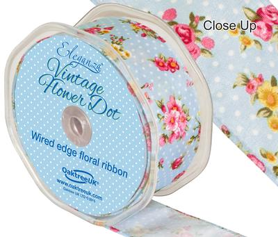 Eleganza Vintage Flower Dot Wire Edge 38mm x 10m Lt. Blue No.25 - Ribbons