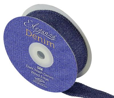 Eleganza Denim Ribbon 25mm x 5m - Ribbons