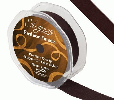 25mm Suede Cut Edge Ribbon Black - Ribbons