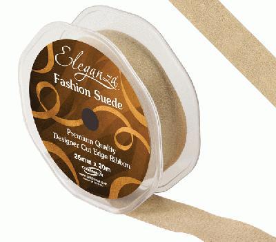 25mm Suede Cut Edge Ribbon Latte - Ribbons