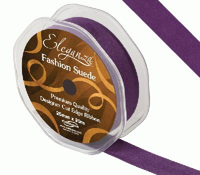25mm Suede Cut Edge Ribbon Purple - Ribbons