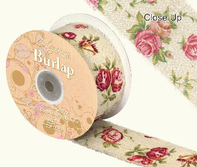 Eleganza Burlap Frayed Edge Vintage Rose 50mm x 10m - Ribbons