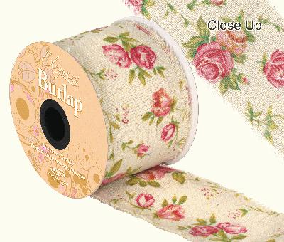 Eleganza Burlap Frayed Edge Vintage Rose 70mm x 10m - Ribbons