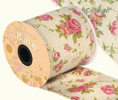 Eleganza Burlap Frayed Edge Vintage Rose 100mm x 10m - Ribbons