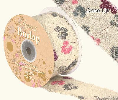 Eleganza Burlap Frayed Edge Contemporary Floral 50mm x 10m - Ribbons