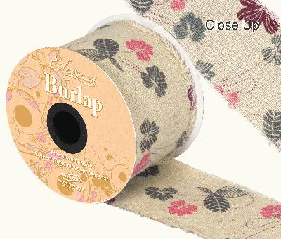 Eleganza Burlap Frayed Edge Contemporary Floral 70mm x 10m - Ribbons