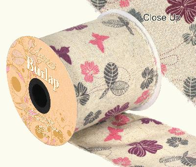 Eleganza Burlap Frayed Edge Contemporary Floral 100mm x 10m - Ribbons