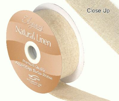 Eleganza Natural Linen Frayed Edge 32mm x 10m Natural No.02 - Ribbons