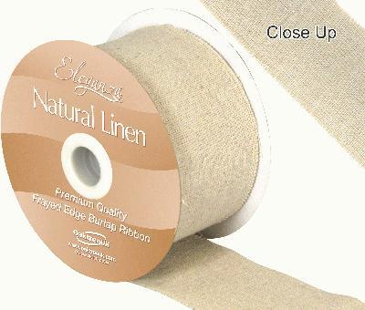 Eleganza Natural Linen Frayed Edge 50mm x 10m Natural No.02 - Ribbons