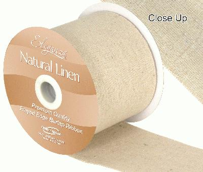 Eleganza Natural Linen Frayed Edge 70mm x 10m Natural No.02 - Ribbons