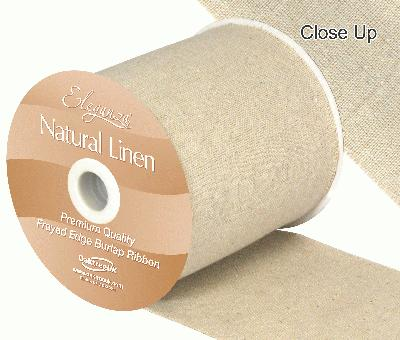 Eleganza Natural Linen Frayed Edge 100mm x 10m Natural No.02 - Ribbons
