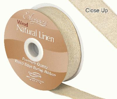Eleganza Natural Linen Wired Edge 32mm x 10m Natural No.02 - Ribbons