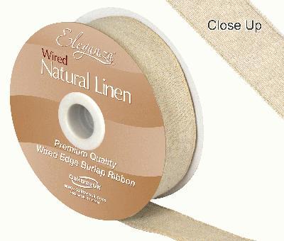 Eleganza Natural Linen Wired Edge 32mm x 10m Natural No.02 - Ribbons