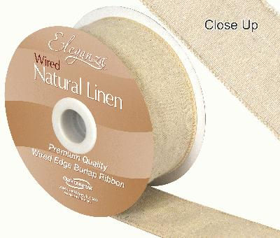 Eleganza Natural Linen Wired Edge 50mm x 10m Natural No.02 - Ribbons