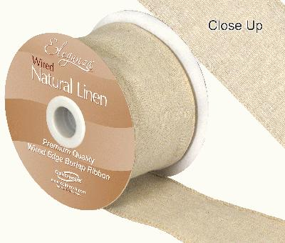 Eleganza Natural Linen Wired Edge 70mm x 10m Natural No.02 - Ribbons