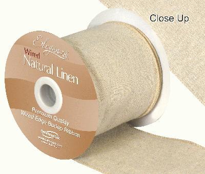 Eleganza Natural Linen Wired Edge 100mm x 10m Natural No.02 - Ribbons