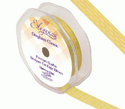 Eleganza Gingham Classic 15mm x 25m Yellow No.11 - Ribbons