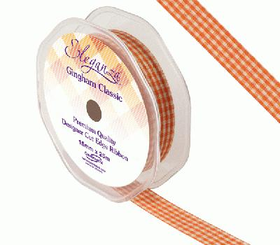 Eleganza Gingham Classic 15mm x 25m Orange No.04 - Ribbons