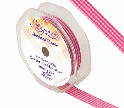 Eleganza Gingham Classic 15mm x 25m Fuchsia No.28 - Ribbons