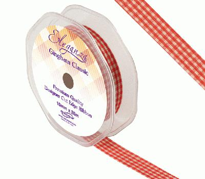 Eleganza Gingham Classic 15mm x 25m Red No.16 - Ribbons