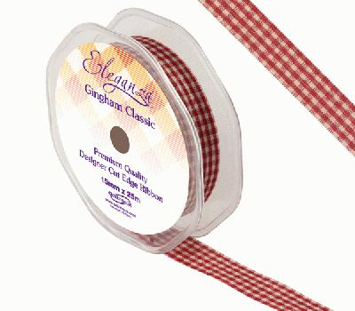 Eleganza Gingham Classic 15mm x 25m Burgundy No.17 - Ribbons