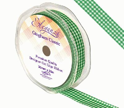Eleganza Gingham Classic 15mm x 25m Green No.50 - Ribbons
