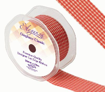 Eleganza Gingham Classic 38mm x 25m Red No.16 - Ribbons