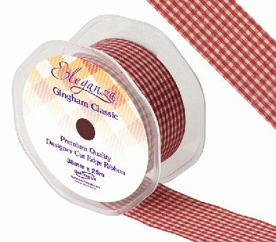 Eleganza Gingham Classic 38mm x 25m Burgundy No.17 - Ribbons