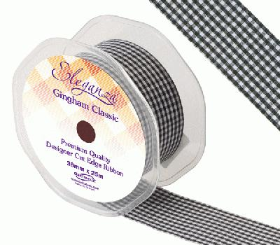 Eleganza Gingham Classic 38mm x 25m Black No.20 - Ribbons
