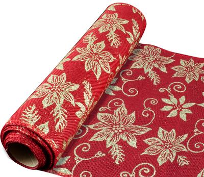 Eleganza Stitched Edge Gold Poinsettia Fabric 29cm x 5 yards (4.57m) Design No.363 - Christmas Ribbon