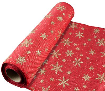 Eleganza Stitched Edge Gold Snowflake Fabric 29cm x 5 yards (4.57m) Design No.364 - Christmas Ribbon