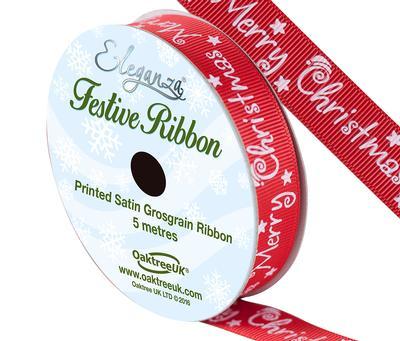 Eleganza Satin Grosgrain Merry Christmas Design No.359 Red 15mm x 5m - Christmas Ribbon