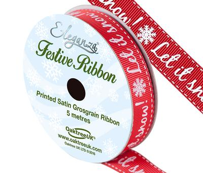 Eleganza Satin Grosgrain Let It Snow! Red 15mm x 5m - Christmas Ribbon